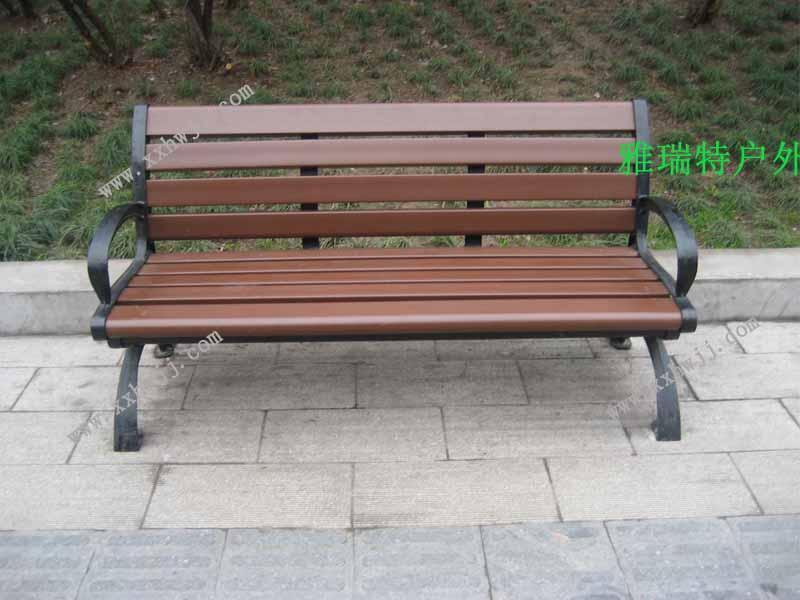 塑木铸铁靠背公园长椅